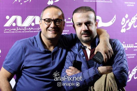 رامبد حوان و محمد شایسته تهیه کننده سینما در مراسم اکران مردمی فیلم نگار در شهر مشهد