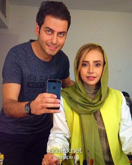 عکس احمد پورخوش و شبنم قلی خانی در پشت صحنه سریال آنام