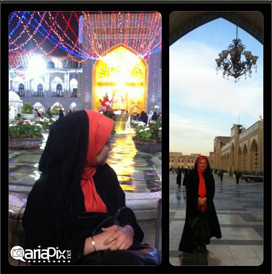 مهراوه شریفی نیا در مشهد مقدس حرم امام رضا در حال زیارت
