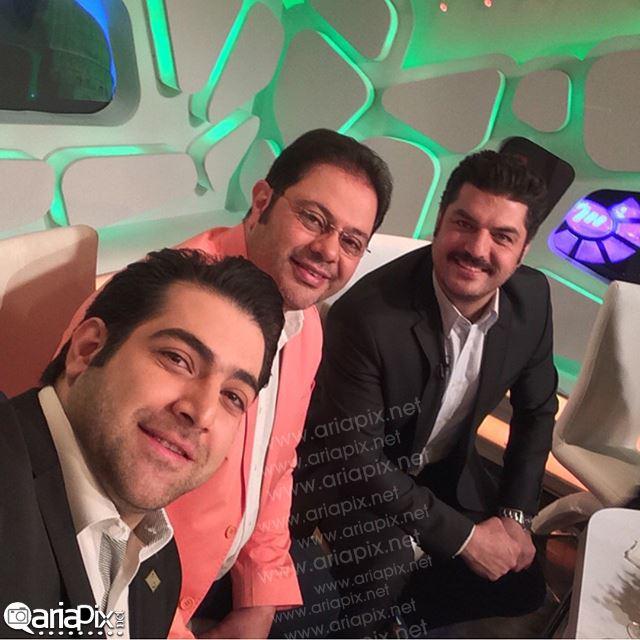 عکس جدید سام درخشانی در کنار محمدرضا حسینیان و شاهین جمشیدی مجریان برنامه