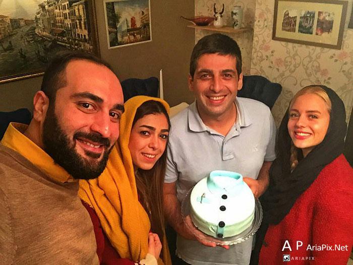 حمید گودرزی و همسرش و خواهرش در شب تولدش