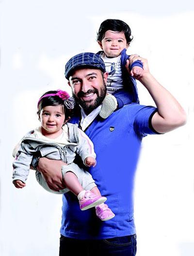 مجید صالحی و فرزندان دوقلویش