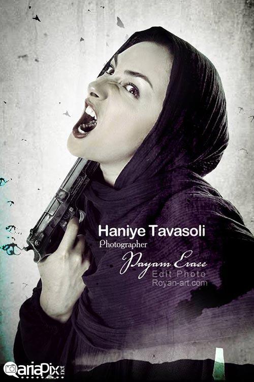 عکس جدید از هانیه توسلی بازیگر زن ایرانی / وقتی هانیه توسلی خشن می شود با تفنگ