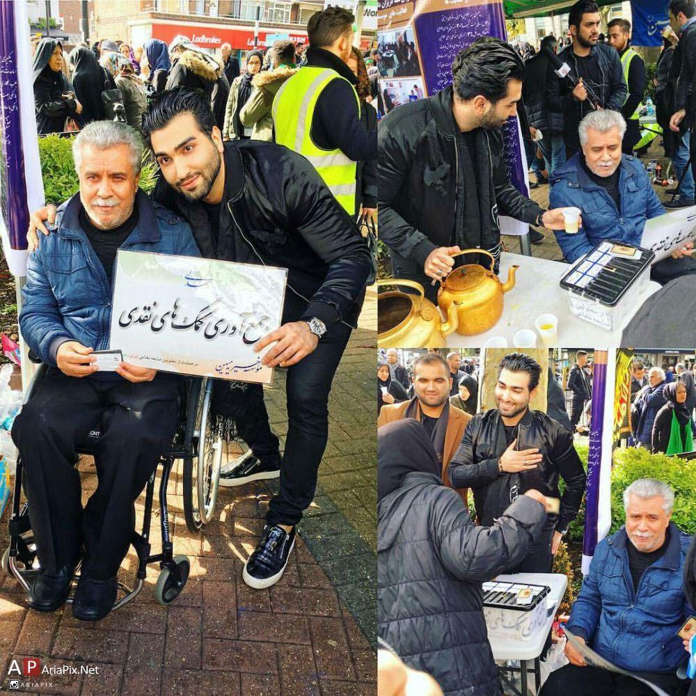 نذری پخش کردن حسین تهی در روز عاشورا محرم 95 در لندن + فیلم