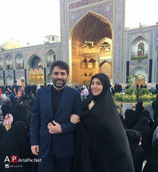 ژیلا صادقی و همسرش محسن رجبی در مشهد