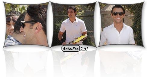 امین حیایی و امیرعلی دانایی در حال تنیس بازی