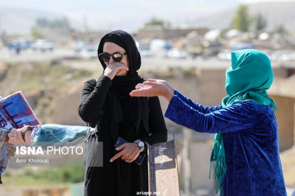 مریلا زارعی بازیگر سینما در مناطق زلزله زده کرمانشاه