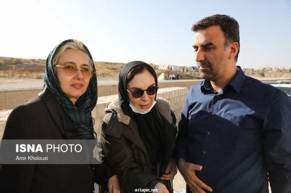 کتایون ریاحی و افسانه بایگان بازیگران زن در مناطق زلزله زده کرمانشاه