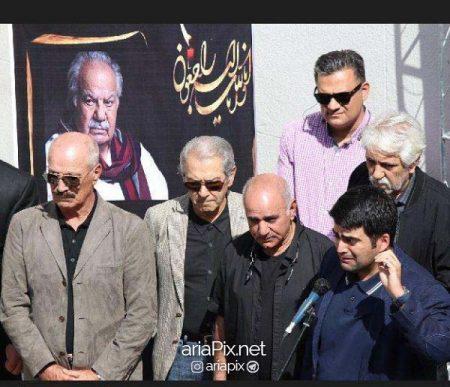 رویز پرستویی فرامرز قریبیان و سعید راد در مراسم تشییع ناصر ملک مطیعی