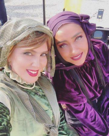 گریم بهاره کیان افشار و لیلا بلوکات در پشت صحنه سریال هشتگ خاله سوسکه