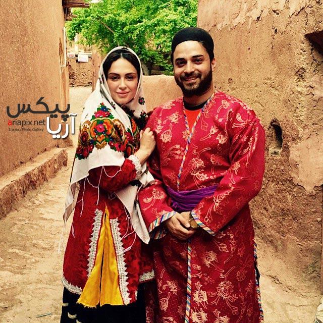 بابک جهانبخش و همسرش با لباس محلی