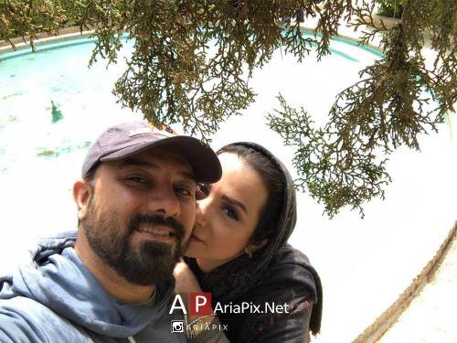 عکس عاشقانه برزو ارجمند و همسرش