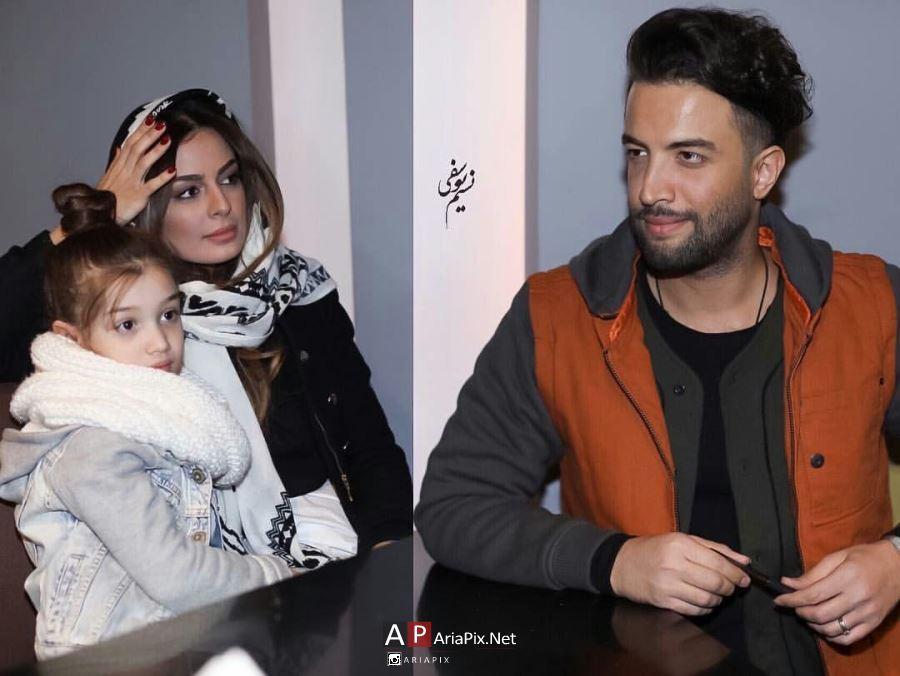 بنیامین و همسرش شایلی و دخترش بارانا در اکران فیلم سلام بمبئی