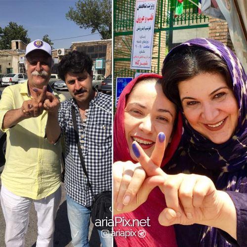 بازیگران پایتخت در حال رای دادن در انتخابات 96