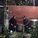محمدرضا گلزار و مهناز افشار در حال پختن نذری اربعین 94 (عکس)