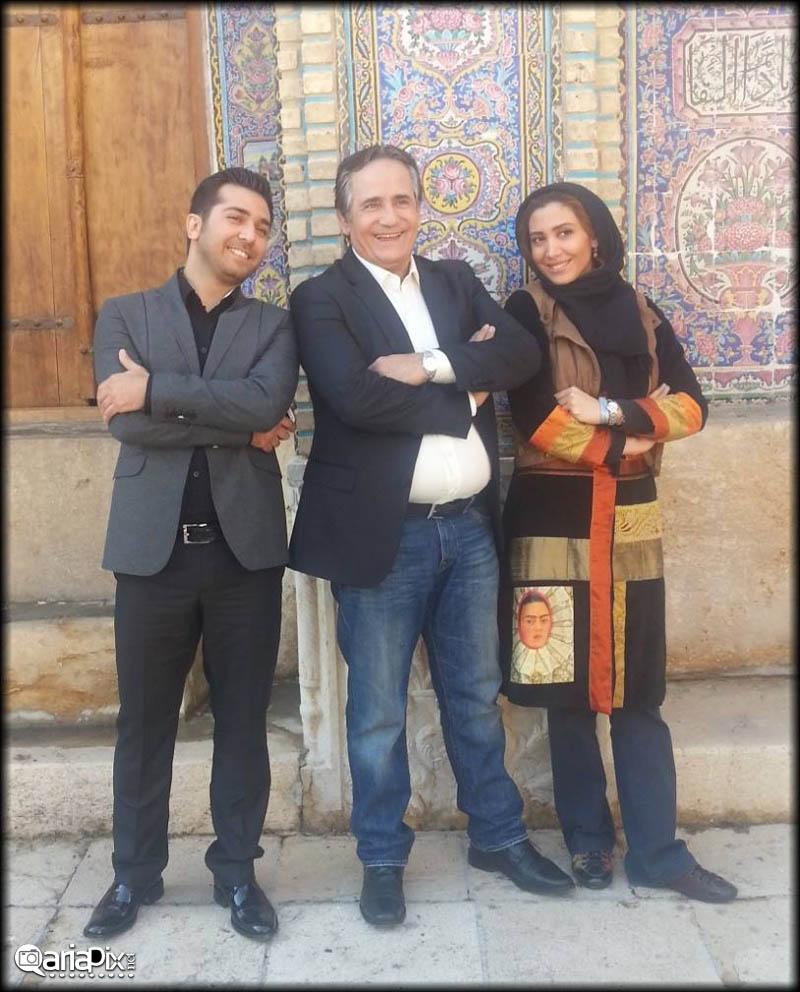 علی مرادی - مجید مظفری و  دخترش نیکی مظفری / پشت صحنه برنامه خوشا شیراز