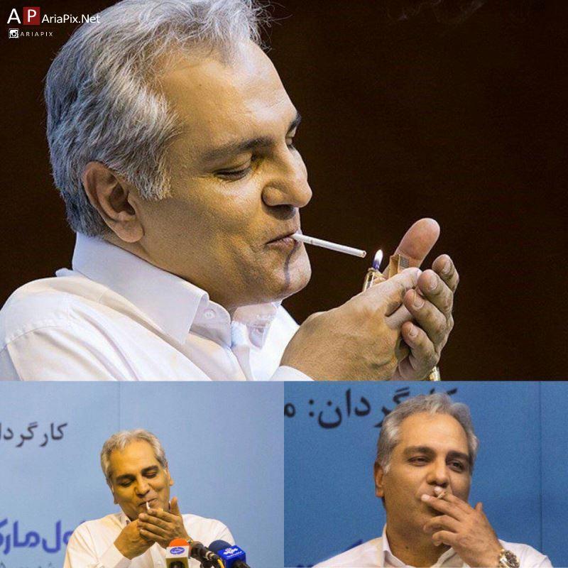 سیگار کشیدن مهران مدیری در نشست خبری فیلم ساعت پنج عصر